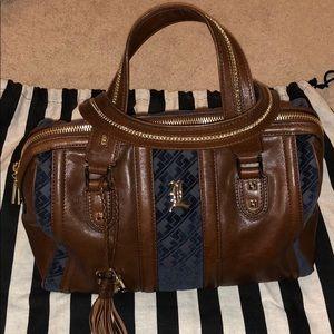 L.A.M.B. Satchel Brown Leather & Blue Suede
